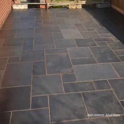 Limestone Paving - Kotah Black (Hand Cut Edge)