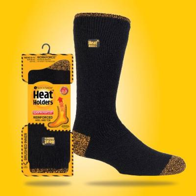 SockShop Heat Holders Workforce Reinforced Thermal Socks - Black/Yellow