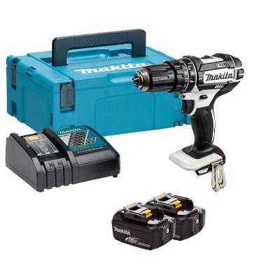 Makita DHP482RTWJ 18v LXT White Combi Drill + 2 no. 5ah Batteries
