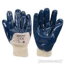 Silverline Open Back Jersey Lined Nitrile Gloves - Large