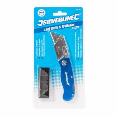 Silverline Lock Knife and 10 Blades 90mm