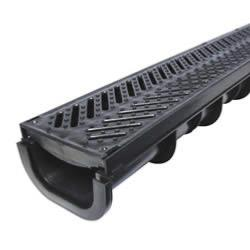 Liberty Plas Channel Drain with Black Plastic Grating