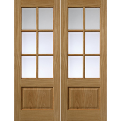 Dove Oak Glazed Pair of Doors