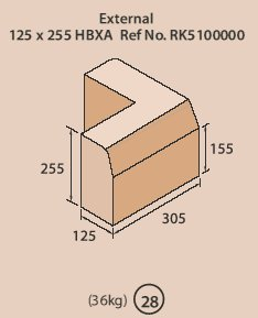 255mm x 125mm HB Ext Angle Kerb